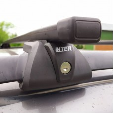 Багажник на рейлинги Inter Titan для Lada Priora 2013-2015 универсал с замками, прямоугольные дуги