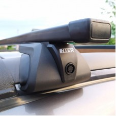 Багажник на рейлинги Inter Titan для Nissan X-Trail 3 2013-2019 T32 с секретками, прямоугольные дуги